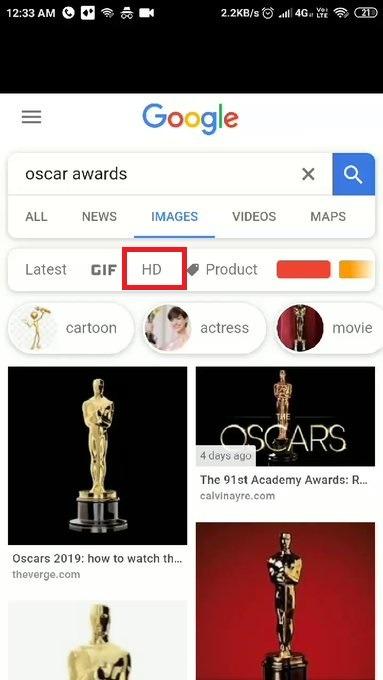 Фильтр поиска по HD-картинкам в Google