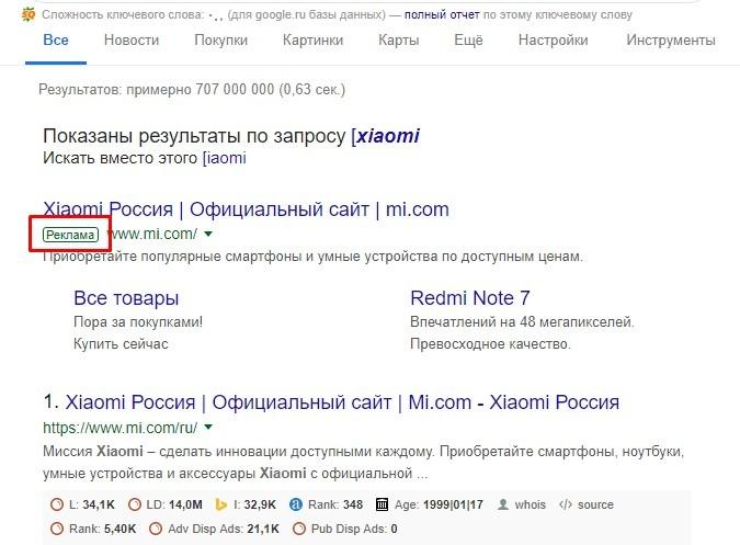 Рекламная метка контекстного объявления в Google