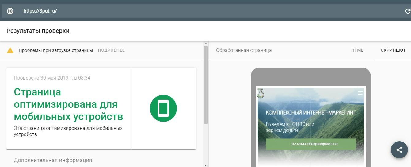 Результаты проверки на mobile-friendly в Google