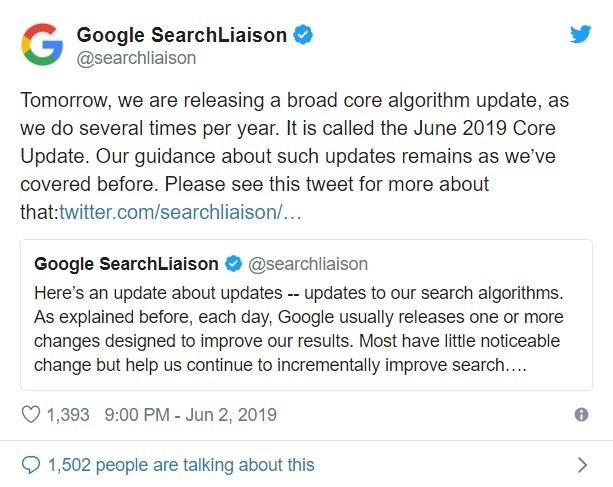 Google сообщает об апдейте 03062019