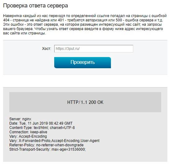 Результаты проверки ответа сервера в 2ip.ru