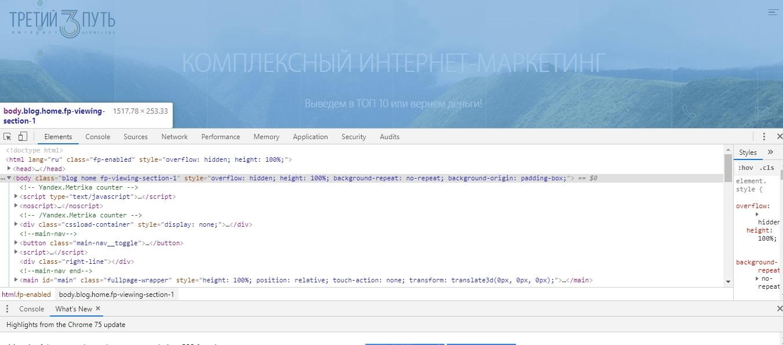 Панель инструментов разработчика