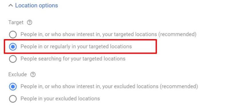 Выбор геотаргетинговых настроек в Google Ads