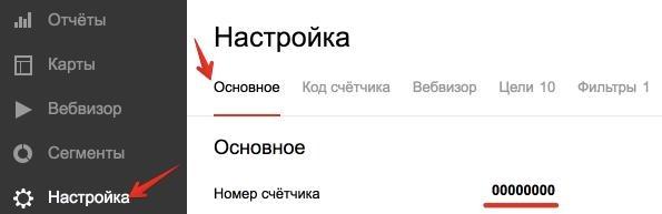Расположение номера счетчика Яндекс Метрики